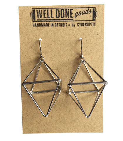 Short Double Pyramid 3D Silver Dangle Earrings, Well Done Goods