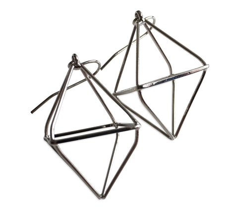 Short Double Pyramid 3D Dangle Earrings, Well Done Goods