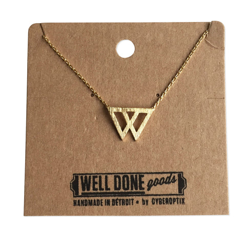 Dual Triangle Necklace, Gold Geometric Necklace, by Well Done Goods