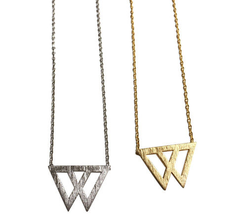 Dual Triangle Necklace, by Well Done Goods