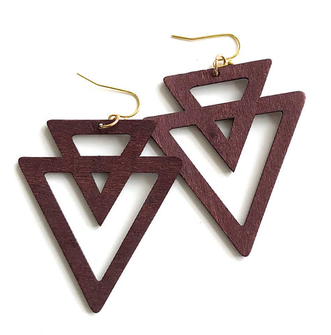 Dark Walnut Double Triangle, Laser Cut Geometric Wood Drop Earrings, Well Done Goods