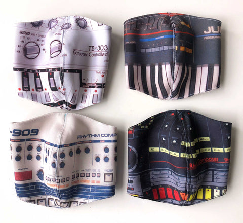 Vintage Synth, Drum Machine Adjustable Cloth Face Covers. Set of 4, Hand Made in Detroit, USA