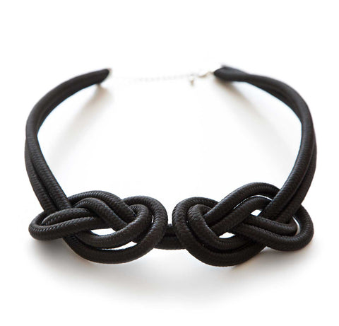 Dual Knot Rope Statement Necklace, Black. Well Done Goods