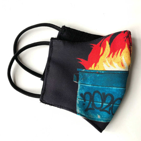Dumpster Fire 2020, Fitted Two Layer Cloth Face Cover. Hand Made in Detroit, USA