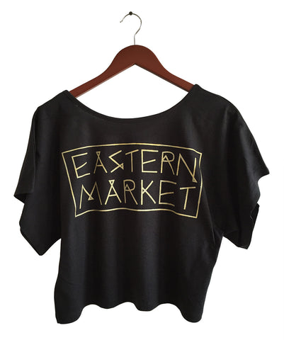 Black and gold Eastern Market Print, Boxy Crop Top, Well Done Goods by Cyberoptix
