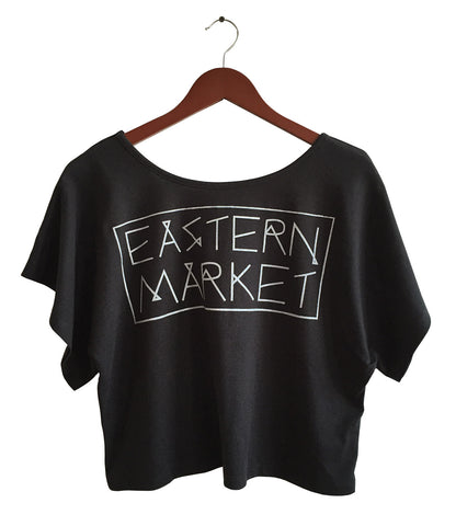 Black and silver Eastern Market Print, Boxy Crop Top, Well Done Goods by Cyberoptix