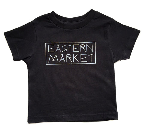 Eastern Market Detroit, Toddler T-Shirt. Silver on black, Well Done Goods