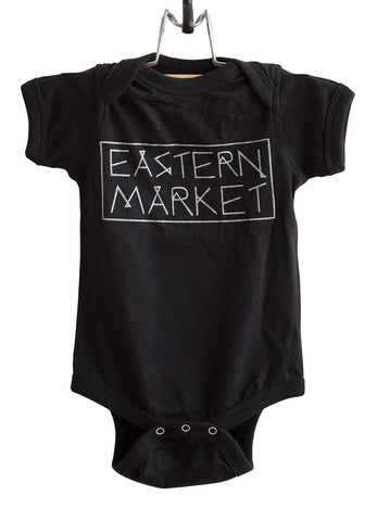 Eastern Market Silver on Black Baby Onesie, Text Print Creeper, Well Done Goods