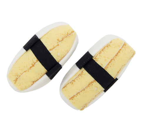 Egg Tamago Nigiri. Socks that look like sushi by Sukeno. Well Done Goods.