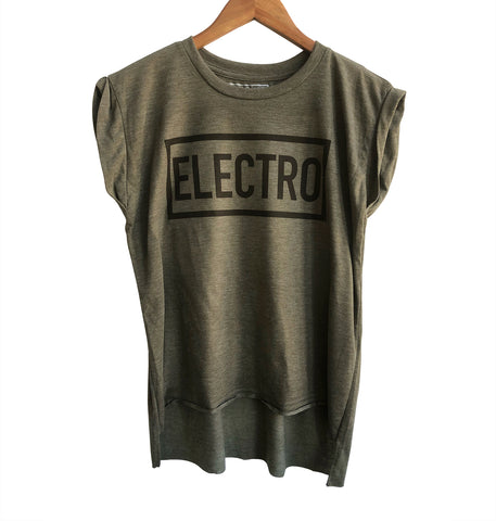 Electro Women's Heather Olive Muscle Tee, Well Done Goods