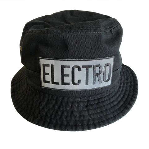 Electro Black Bucket Hat, Reflective Embroidered Patch, Well Done Goods