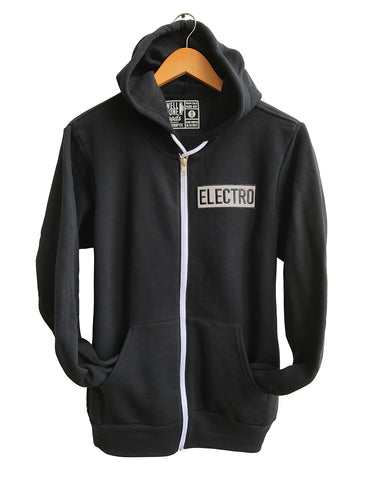Electro Reflective Patch Zip Hoodie, Unisex Hooded Sweatshirt, Well Done Goods