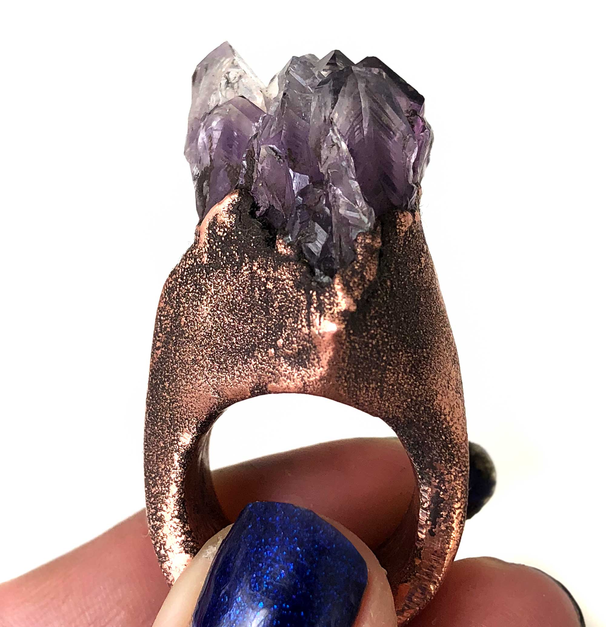 Raw natural purple amethyst cluster crystal point copper electroformed ring
