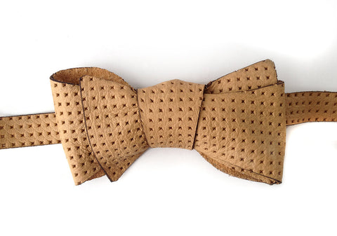 Embossed Tan Automotive Leather Bow Tie