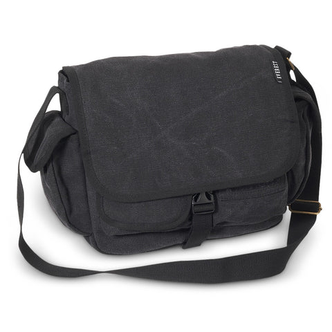 Small Black Canvas Messenger Bag, Everest Bags