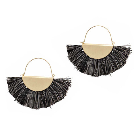 Variegated Fan Tassel Earrings, Black & Grey. Brass Half Moon Accent, Well Done Goods