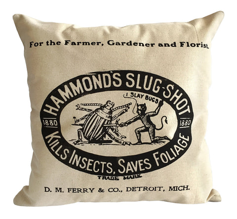 Ferry and Co. Hammond's Insecticide Throw Pillow, Vintage Detroit Advertising Print, Well Done Goods