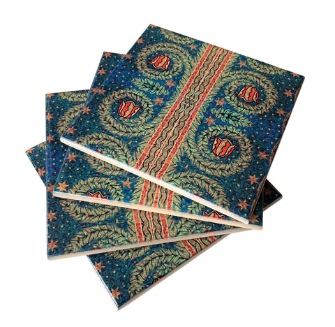 Fisher Building Floral Print Mosaic Drink Coaster, Well Done Goods