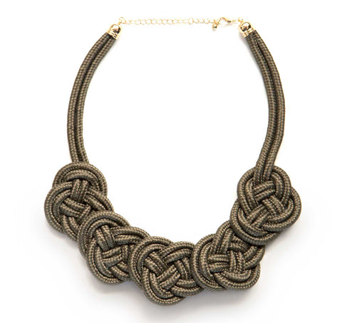 Five Knot Woven Rope Statement Necklace, Olive Green