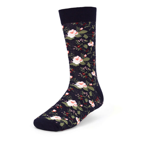 Floral Socks, Dark Navy Blue. Parquet Fancy Men's Socks