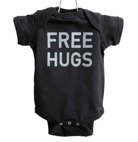 Free Hugs Baby Snapsuit, Pale Grey on Black, Well Done Goods