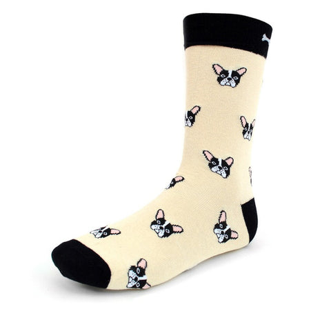 French Bulldog Socks, Black & Cream. Men's Fancy Socks by Parquet.