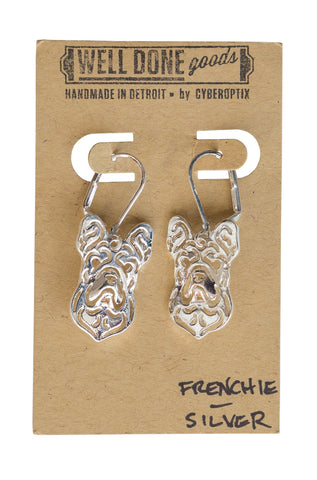 Frenchie Silver Dangle Earrings, Well Done Goods