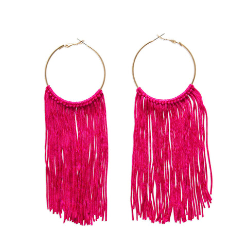 Long Gold Circle Fuchsia Tassel Dangle Earrings, Well Done Goods