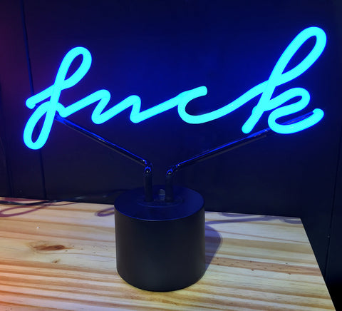 Fuck Script Neon Desk Lamp, Amped & Co. Well Done Goods by Cyberoptix