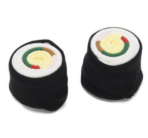 Futomaki Roll Sushi Socks, rolled up, Japanese socks by Sukeno. Well Done Goods