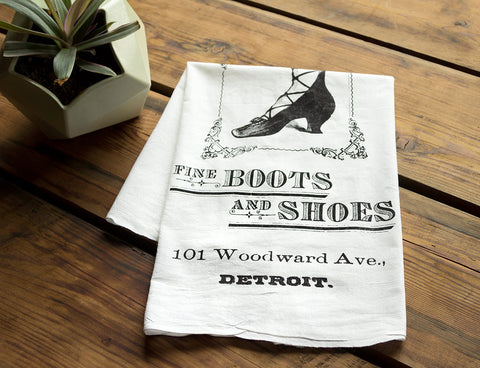 Boots & Shoes Organic Cotton Screen-printed Flour Sack Towel, Detroit RH Fyfe Co., Well Done Goods by Cyberoptix