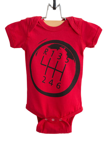 Gear Shift Black on Red Baby Snapsuit, Well Done Goods
