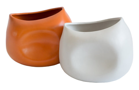 Geometric Blob Vases, orange and white. Well Done Goods