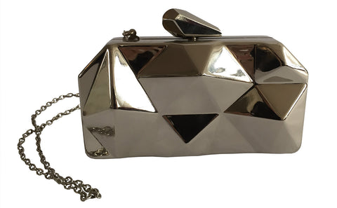 Geometric Faceted Metal Clutch Bag, Metal Purse, by Well Done Goods