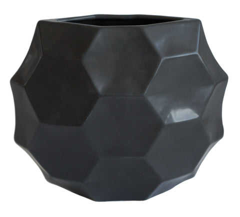 Geometric Honeycomb Vase, Black. Well Done Goods