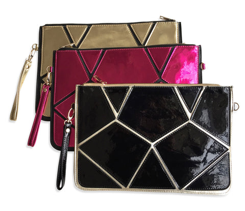Vinyl Geometric Clutch Bag, Well Done Goods