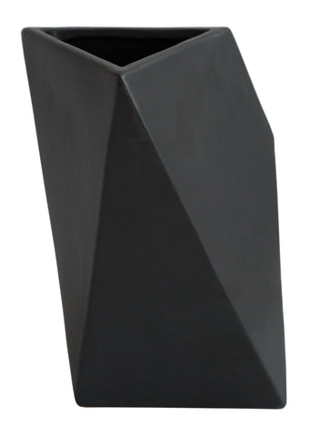 Large Black Geometric Triangle Vase, Well Done Goods