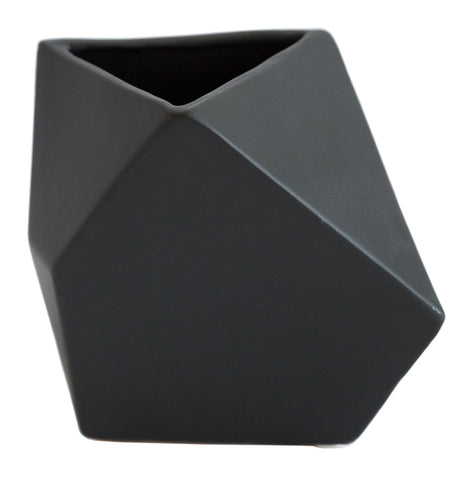 Small Black Geometric Triangle Vase, Well Done Goods