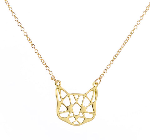 Wireframe Cat Necklace, Gold. Well Done Goods