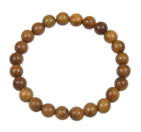 Golden Sandalwood stretch bracelet, wood mala bead bracelet