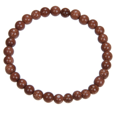 Goldstone Bead Mala Bracelet, 6mm
