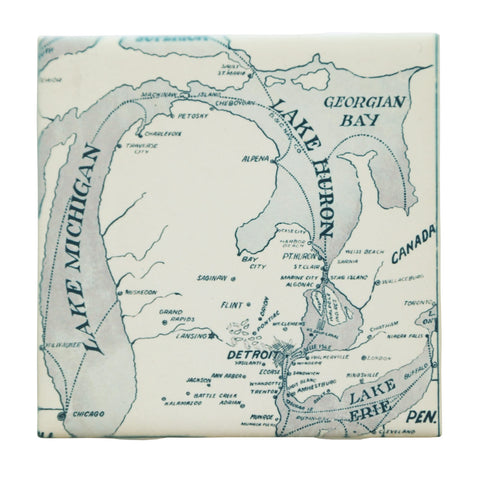 Great Lakes Map Drink Coaster, Well Done Goods