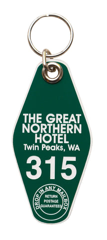 The Great Northern Hotel Motel Style Keychain Tag, Room 315, Green and White, by Well Done Goods