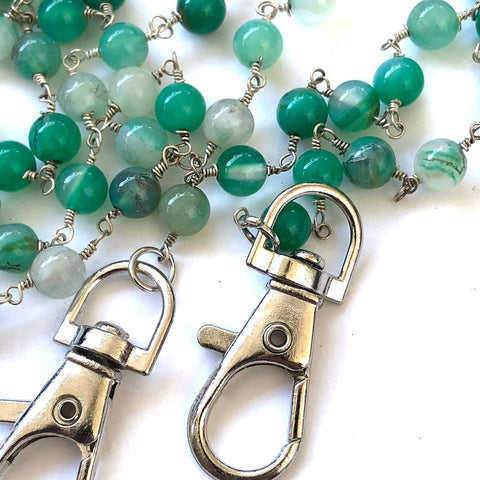 Green Aventurine Stone Bead Mask Holder. Facemask lanyard, mask leash