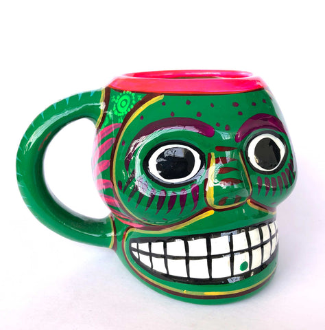 Hand Painted Ceramic Mexican Sugar Skull Cup, Green