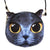 Small Cat Face Purse. Solid Grey Cat with Big Yellow Eyes Bag, by Well Done Goods