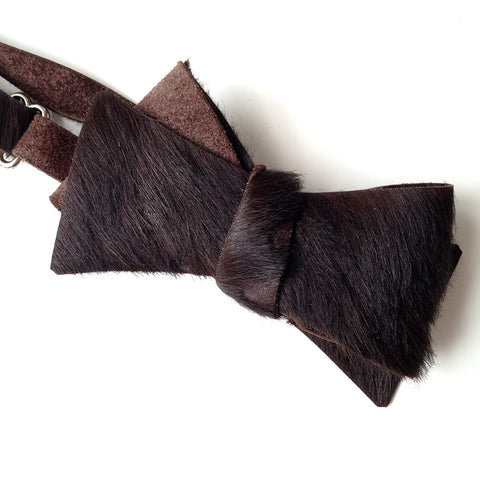 Black Mottled Hair-On Hide Calf Leather Bow Tie
