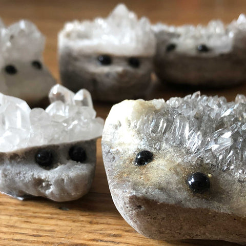 Hedgehog Sculptures, Hand Carved Quartz Crystal Clusters