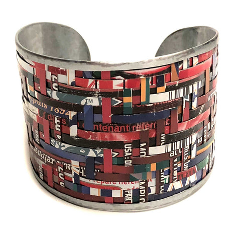 Large handwoven Recycled Tin Bracelet. Fair Trade, India