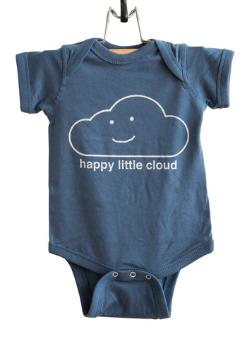 Happy Little Cloud White on Indigo Baby Onesie, Well Done Goods